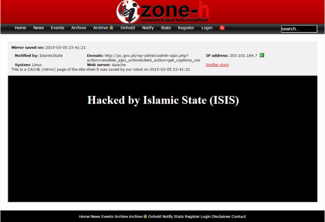Defaced web sites by the islamis state ISIS
